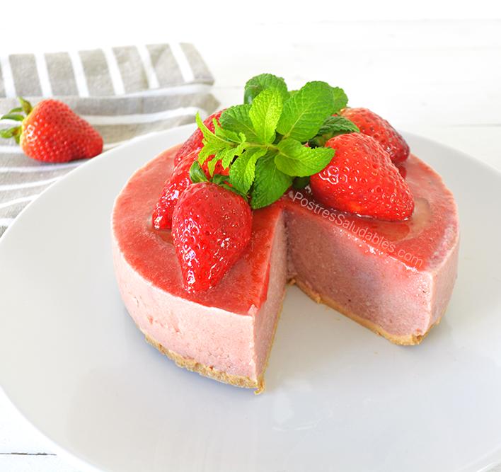 Postres saludables cheesecake de fresas saludable sin horno - Postres con fresas naturales ...