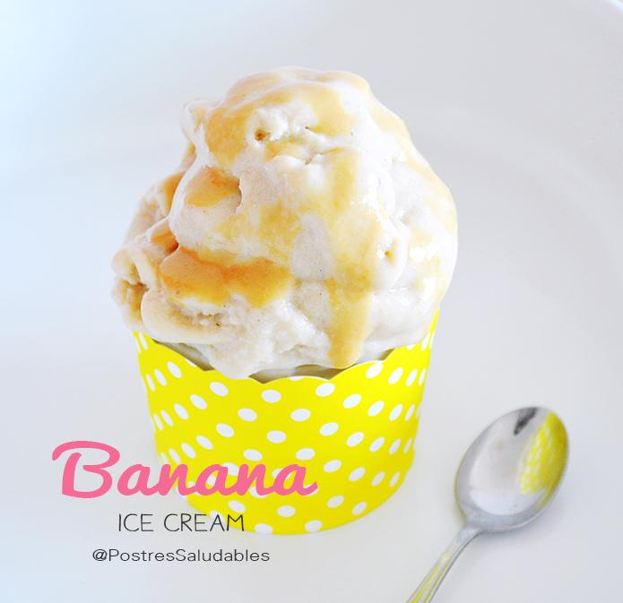 Helado de banano con dulce de leche saludable